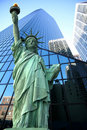 Classical NY- statue of Liberty vs Manhatt Stock Photos