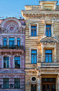 Classical style architecture buildings in the city megapolis - Windows - Russia - Saint Petersburg - Front view exterior