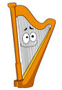 Classical wooden harp with a smiling face on the strings cartoon illustration isolated on white Royalty Free Stock Image