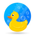 Classical yellow rubber duck with soap bubbles. Vector Illustration of bath toy for baby games