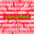 Classified word shows top secret or confidential showing document Royalty Free Stock Images