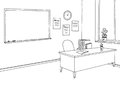Classroom graphic black white interior sketch illustration