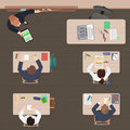 Classroom modern lesson in school, university or college. Flat color design. Top view.