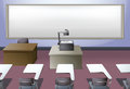 Classroom with projector and desks Royalty Free Stock Photo