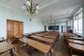 Classroom with tables in the faculty of physics moscow may moscow state university on may moscow russia Royalty Free Stock Photography