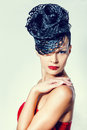 Classy charismatic woman with trendy luxurious hairstyle vogue style Stock Photography