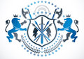 Classy emblem, vector heraldic Coat of Arms. Vector protection e Royalty Free Stock Photo