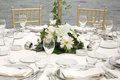 Classy wedding reception dinner tables near bosporus istanbul Royalty Free Stock Photos