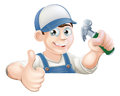 Claw Hammer man over sign thumbs up Stock Images