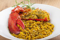 Clawed lobster with yellow rice plate of Stock Photos