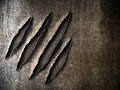 Claws scratches marks on rusty metal plate Royalty Free Stock Photo