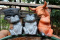Clay art objets for gardens Stock Images