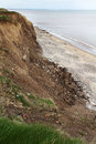 Clay cliff erosion on the east coast of yorkshire uk Stock Photos