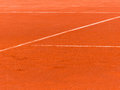 Clay court white lines on tennis outdoor shot Royalty Free Stock Image