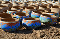 Clay handcraft handmade moroccan dishware in a pottery factory in marrakesh Royalty Free Stock Image