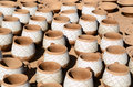 Clay mugs handmade dishware in a pottery workshop Stock Photo