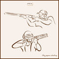 Clay pigeon shooting Royalty Free Stock Photo