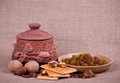 Clay pot and tasty raisin, cupcakes, nuts Royalty Free Stock Images