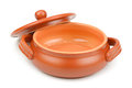 Clay pot on white background Stock Photo