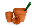 Clay pots and green shovel isolated on white background Royalty Free Stock Photos