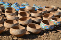 Clay pots handmade pottery in a factoty in marrakesh morocco Stock Photo