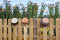 Clay pots hanging on the fence a wooden Stock Image
