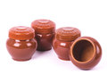 Clay pots isolated Stock Images