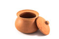 Clay pots on white background Royalty Free Stock Photos