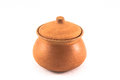 Clay pots on white background Stock Images