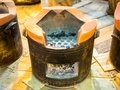 Clay stove pottery for cooking with wood burn ,fire or charcoal. Royalty Free Stock Photo