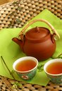 Clay teapot and cups of tea Royalty Free Stock Image