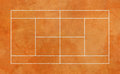 Clay tennis court illustration of with textured effect seen from above Stock Image