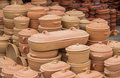 Clay ware for sale cookware on the holds nutrients and keeps your food moist it is slow cooking very safe and Stock Images