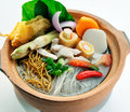 Claypot noodle soup with vegetables chinese style Stock Photos