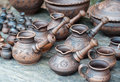 Clayware turks for coffee making Stock Photography