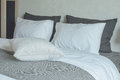 Clean bedding with king size bed Royalty Free Stock Photo