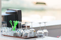 Clean dishes on the bar Royalty Free Stock Photo