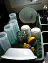 Clean Dishes in Tray Royalty Free Stock Photo
