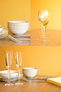 Clean dishes on wooden table on orange background Stock Photo