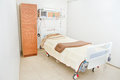 Clean Empty Hospital Room Ready for One Patient Royalty Free Stock Photo
