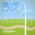 Clean energy concept with wind generators vector illustration eps contains transparencies Royalty Free Stock Photography
