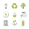 Clean energy and ecology protection flat icons set of nature renewable recycling green innovation technology waste reduction Royalty Free Stock Images