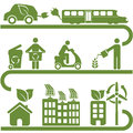 Clean energy and green environment symbols Royalty Free Stock Images