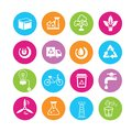 Clean energy icons power and in colorful round buttons Royalty Free Stock Image