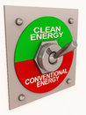 Clean energy switch from conventional Royalty Free Stock Photo