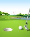 A clean and green golf course illustration of Royalty Free Stock Images