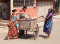 Clean kolkata a women kmc worker collecting garbage from homes at Royalty Free Stock Photo