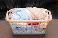 Clean laundry basket wet pile inside plastic Royalty Free Stock Photo