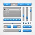 Clean Light Blue User Interface Controls. Web Elements. Website, Software UI: Buttons, Switchers, Slider