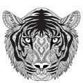 Clean lines doodle design of tiger face, for T-Shirt graphic, tattoo, coloring book for adult and so on -Stock Royalty Free Stock Photo